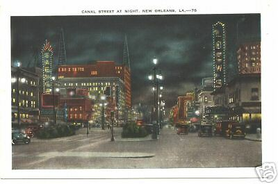 Canal Street At Night, New Orleans, La. Louisiana