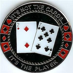 THE PLAYER NOT THE CARDS Poker Weight Guard Card Chip