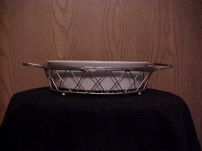 WHITE ROUND SERVING DISH WITH SILVERPLATE STAND