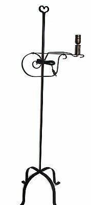 Hand Forged Black Wrought Rod Iron Floor Lamp Heart USA Made - Country Classic
