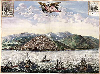 Birds eye View of Algier in 1600s Algeria Large Picture Antique Old Map Plan NEW
