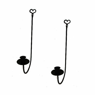 Black Wrought Iron Single Arm Wall Candle Sconces PAIR Heart Country Farmhouse