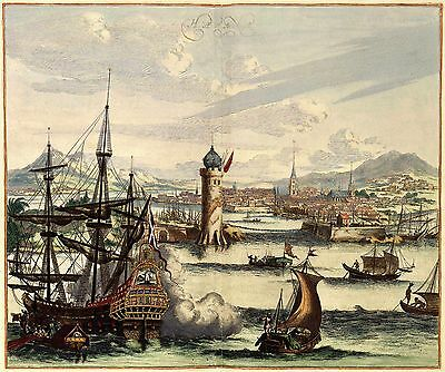 17c View of Port of Havana Cuba Scene Antique Panoramic Colour Map Plan Poster