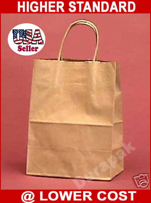 "250 PCS Natural Vogue 16x6x12"" Kraft Paper Retail Shop Gift Bag Shopping Bags"