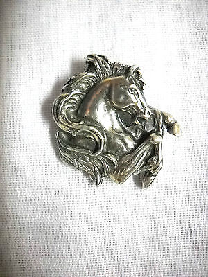 BEAUTIFUL REARING PONY HORSE HEAD FRONT QUARTER USA PEWTER PENDANT ADJ NECKLACE