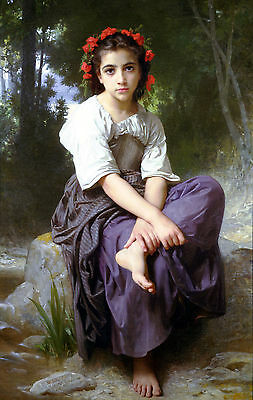 Edge of the Brook by William Bouguereau Large A3 Size Print Poster Painting New