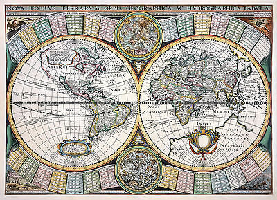 Tavernier Decorative Reproduction Antique Old Colour World Map Color America NEW