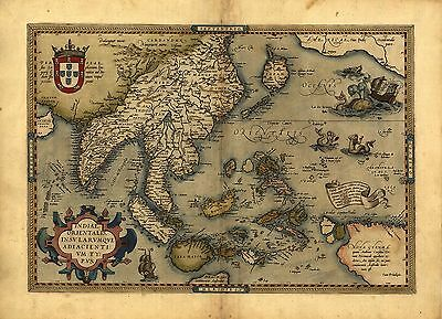 Abraham Ortelius Japan Asia India Pakistan Reproduction Antique Old Colour Map