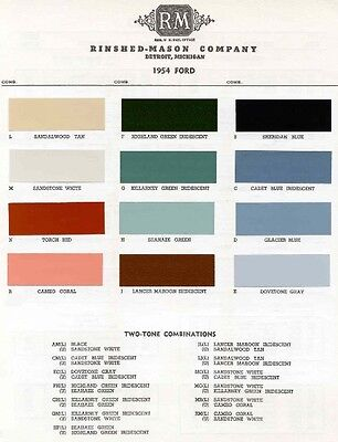 1955 Ford Paint Color Sample Chips Card Oem Colors