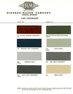 1949 Chevy Paint Color Sample Chips Card Oem Colors