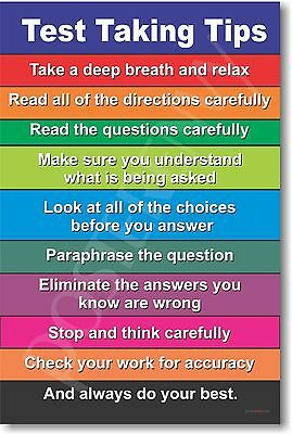 Test Taking Tips - Customize for Free! NEW Classroom Exam Preparation POSTER