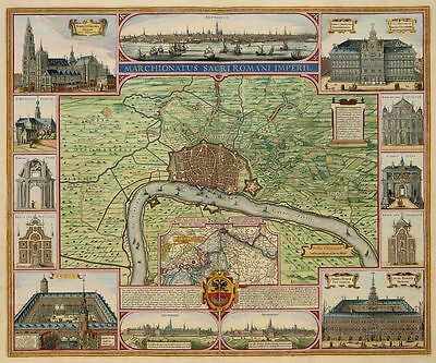 Reproduction City Plan VINTAGE OLD COLOUR 1687 Map Antwerpen Antwerp Belgium NEW