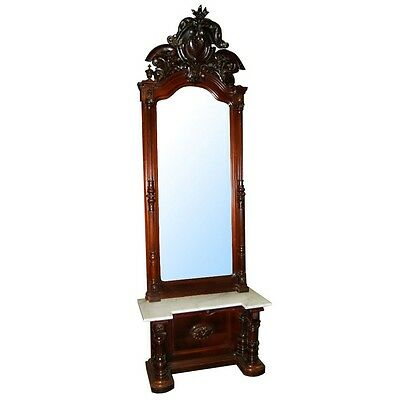 Magnificent Victorian Carved Walnut Marble Top Pier Mirror w/Carved Crest #6450