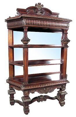 High-Quality Antique Mirrored Victorian Rosewood Étagère c. 1890 #6411