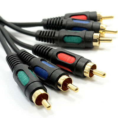 1.5m Component Video RGB HD Cable Lead YpbPr GOLD 5ft