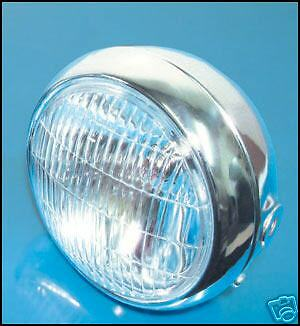 "Universal Chrome 5"" Round Motorcycle Headlight Side Mounted Headlamp Unit"