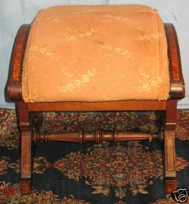 Antique Renaissance Revival Walnut Lift Top Footstool