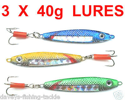 3 MIXED 40g STAVENGER SPINNERS SEA FISHING SPINNING ROD LURES BASS,PIKE,MACKEREL