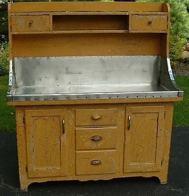 Antique Amish High Back Dry Sink Yellow Crackle Paint