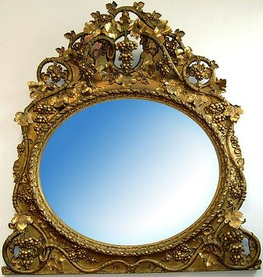 Antique French Rococo Gilt Wood 19th century Oval Mirror/ Over Mantel Mir #6791