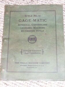 Heald No 81 Gage-Matic Grinding Machine Operator Manual