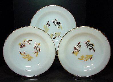 3 Federal Glass 8 inch Rimmed Soup Bowls Golden Berry