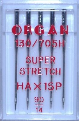 Organ Sewing Machine Needles -HAx1SP Super Stretch Size 90  - BLB79