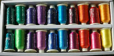 Marathon Viscose Rayon Embroidery Machine Thread 20 x 1,000m Spools MB - Brights