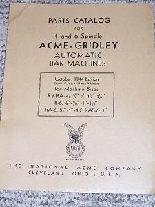 Acme-Gridley Automatic Bar Machine Parts Catalog R/RA-4