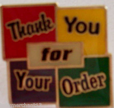 """Thank You for Your Order"" Lapel Pins, Lot of 25! NEW!"