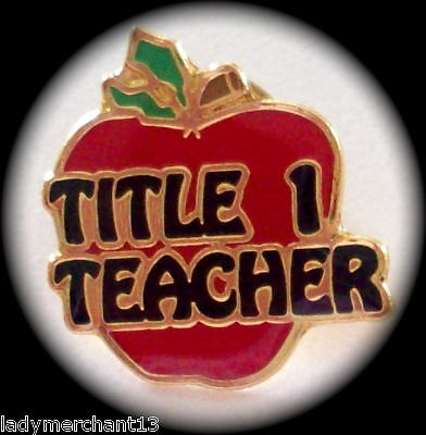 """TITLE 1 TEACHER"" Apple Enamel Lapel Pins/12!!!/NIB"