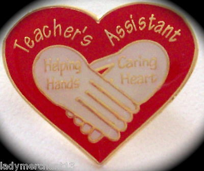"""Teacher's Assistant"" Enamel Heart Lapel Pins (12) NEW!"