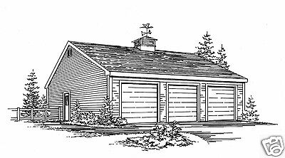 36 X 28 Oversized Two Stall Car Garage Building Plans
