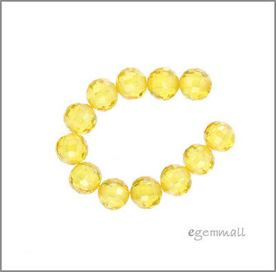 Cubic Zirconia Faceted Round Beads 6mm 8pc Yellow #64020