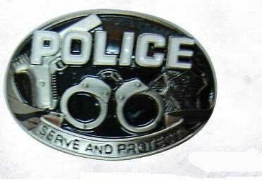 Police Pewter & Enamel Gun Belt Buckle Bb102