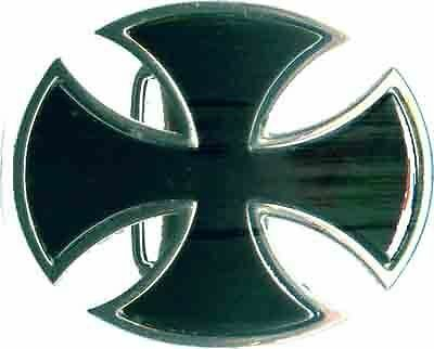 Black And Chrome Iron Cross Biker Belt Buckle Bb104