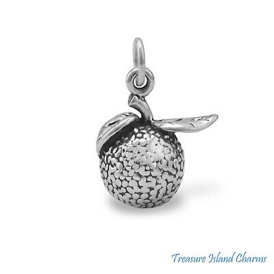 HEAVY ORANGE with LEAVES CITRUS FRUIT 3D .925 Solid Sterling Silver Charm