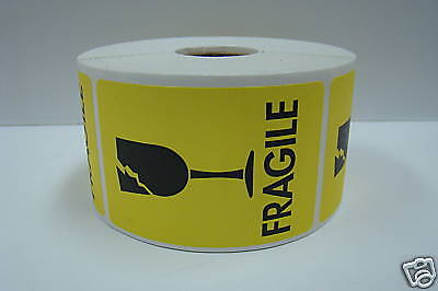 100 Labels 2x3 Yellow Fragile BROKEN GLASS Shipping Mailing Warning Stickers