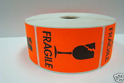 1000 Labels 2x3 Br/Red BROKEN GLASS Shipping Mailing Fragile Warning Stickers