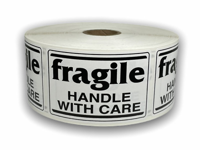 1000 Labels 2x3 Black/White fragile Handle with Care Shipping Mailing Stickers