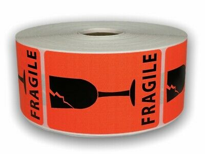 500 Labels 2x3 Br/Red BROKEN GLASS Shipping Mailing Fragile Warning Stickers
