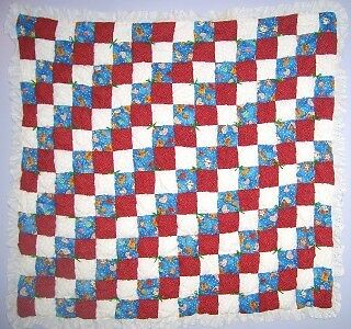 Red & Blue Baby Puff Biscuit Quilt Kit w/ Pattern
