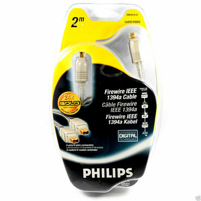Philips Firewire DV IEEE 1394 Cable 4 pin to 4 Gold 2m