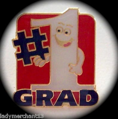 """#1 GRAD"" Enamel Lapel Pins, Lot of 25, NEW IN BAGS!"