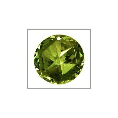 CZ Star Round Pendant Bead 18mm Olive Green #64414