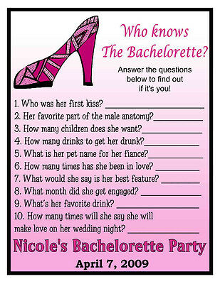 12 Who Knows The Bachelorette Party Game Cards - Nice