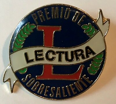 """PREMIO DE SOBRESALIENTE LECTURA"" Reading Pins/25/NEW"
