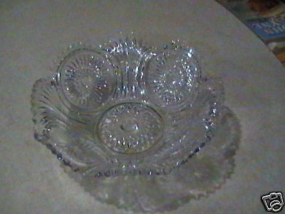 Imperial Pressed Glass Medallion Hobstar Cane Bowl VGC