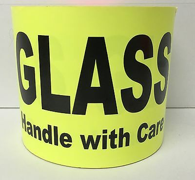 500 Large Labels 4x6 Chartreuse GLASS Handle with Care Shipping Pallet Stickers