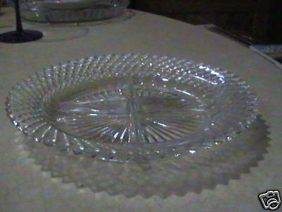2 Anchor Hocking Glass Miss America 4 Part Crystal Divided Dishes